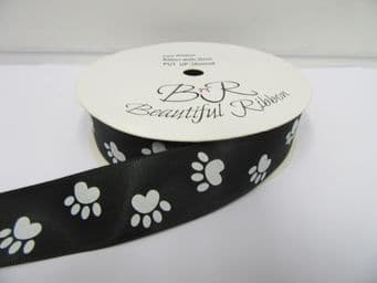 Black with White Paw Print  Satin ribbon, 2 or 25 metres, Double sided 15mm